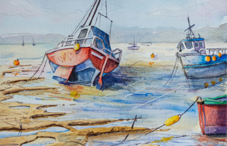 Painting of boats on the River Teign in Devon